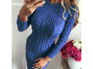 Autumn Winter Warm Sweater Women Dress
