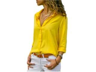 Women Tops Blouses V-Neck Chiffon Blouse Shirts