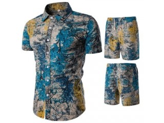 Fashion Floral Shirt Men Casual Shirts Suits Tops