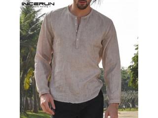 Men Dress Shirts Crew Neck Linen Cotton Shirt