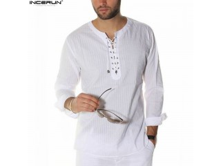 Men Casual Shirts Lace Up Tunic Tops Male Blouse