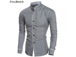 Men Shirts Fashion Slim Long Sleeved Shirt