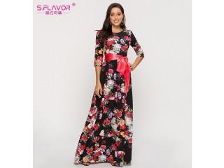 Bohemian Printing Long Dress Elegant Casual Vestidos