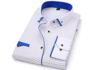 Turn-Down Collar Dress Polka Dot Print Casual Shirt