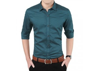 Men Long Sleeve Shirt Polka Dot Casual Shirt