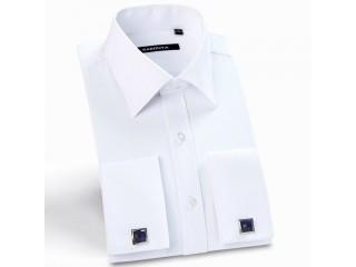 French Cuff Solid Dress Shirts Business Twill Shirt