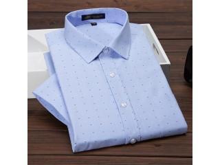 Men's Short Sleeve Shirt Oxford Print Dress