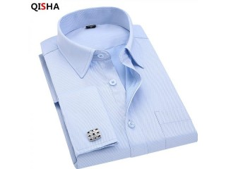 French Cufflinks Business Dress Shirts Long Sleeves