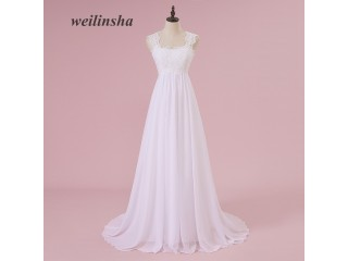 Chiffon Pregnant Brides Dresses Train Wedding Gowns