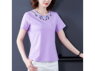 Ladies Tops Embroidery T Shirt