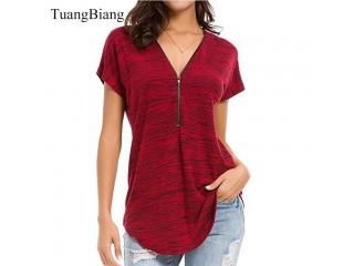 Women Zipper Spring T shirts