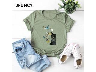 Women Cat Print T Shirt
