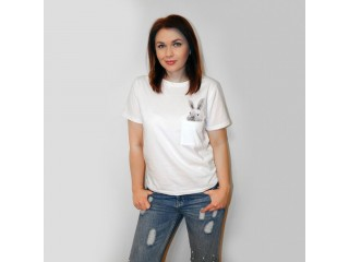 Female T-shirt Printed Pocket Rabbit Top