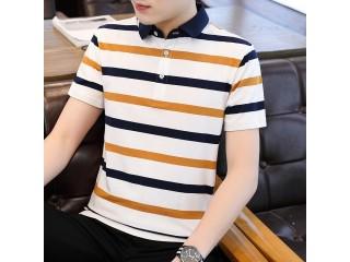 Short Sleeve Striped Polo Shirts